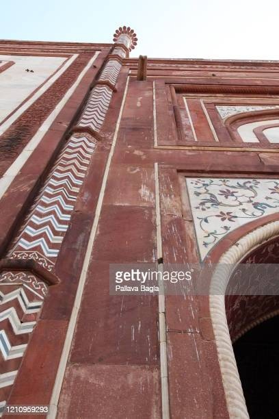 Acidic bird droppings damaging the Taj Mahal. On February 28, 2020 in Agra, India. The Taj Mahal after years of tourism and air pollution is showing...