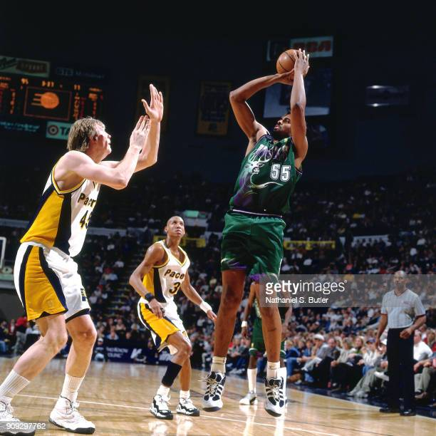 Acie Earl of the Milwaukee Bucks shoots during a game played on February 28 1997 at Market Square Arena in Indianapolis Indiana NOTE TO USER User...