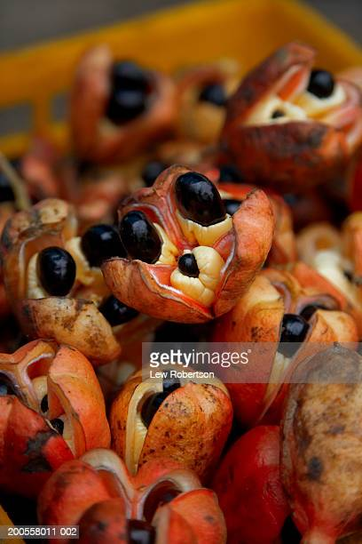Ackee fruit at market stall, close-up