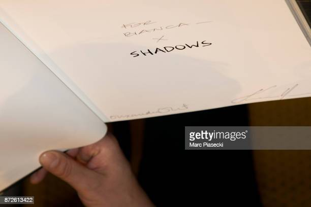 Acloseup at actor Keanu Reeves' autograph as he attends the 'X Artists' books launch at Palais De Tokyo on November 10 2017 in Paris France