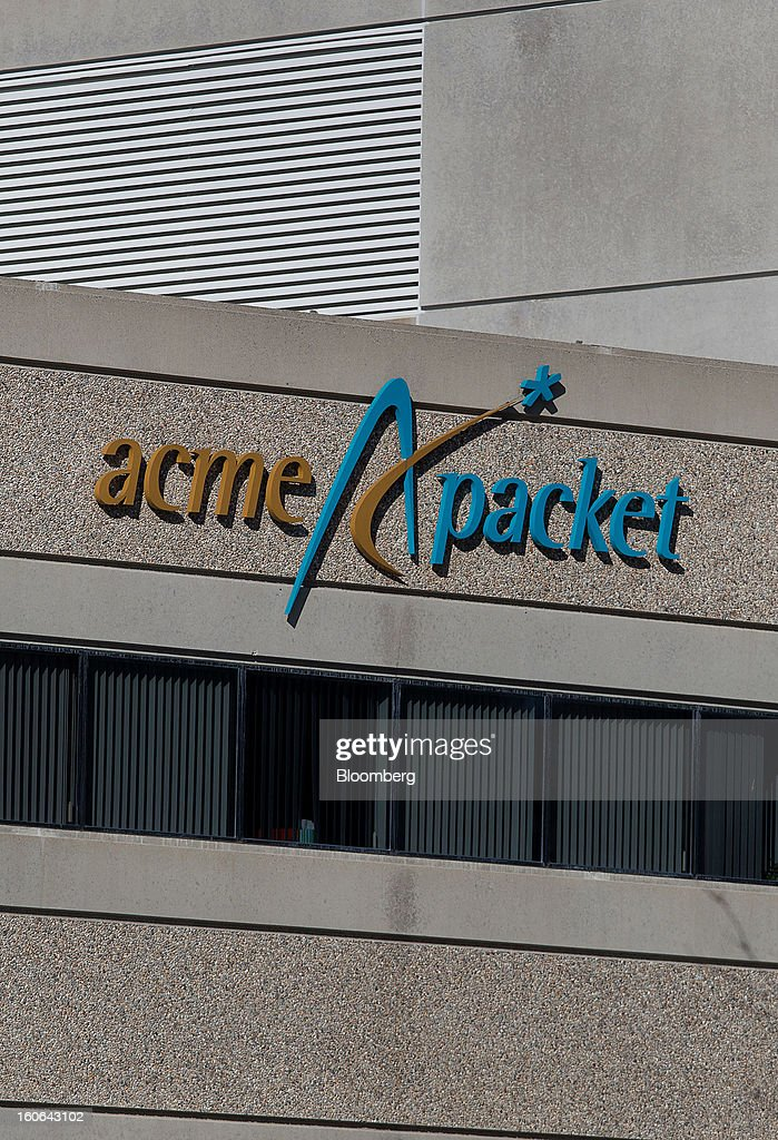 Acme Packet Inc. signage is displayed on the exterior of the company's headquarters in Bedford, Massachusetts, U.S., on Monday, Feb. 4, 2013. Oracle Corp., the second-largest maker of business applications, agreed to acquire Acme Packet Inc. for $2.1 billion, gaining technology that helps corporations securely transmit information over the Internet. Photographer: Scott Eisen/Bloomberg via Getty Images