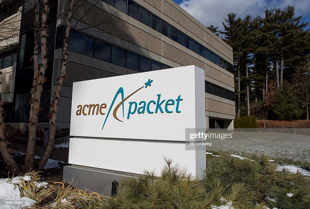 Acme Packet Inc. signage is displayed outside of the company's headquarters in Bedford, Massachusetts, U.S., on Monday, Feb. 4, 2013. Oracle Corp., the second-largest maker of business applications, agreed to acquire Acme Packet Inc. for $2.1 billion, gaining technology that helps corporations securely transmit information over the Internet. Photographer: Scott Eisen/Bloomberg via Getty Images