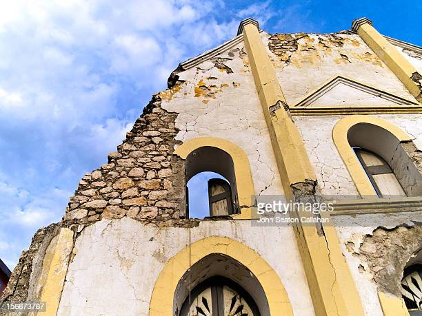 acmel, damaged façade of church from earthquake. - port au prince stock pictures, royalty-free photos & images
