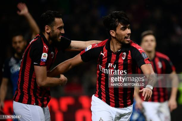 ACMilan's midfielder Lucas Paqueta from Brazil celebrates a goal that was later disallowed by the VAR during the Italian Serie A football match AC...