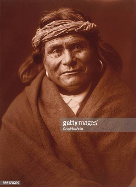 Acoma Man by Edward S Curtis sepiatoned photograph circa 1904