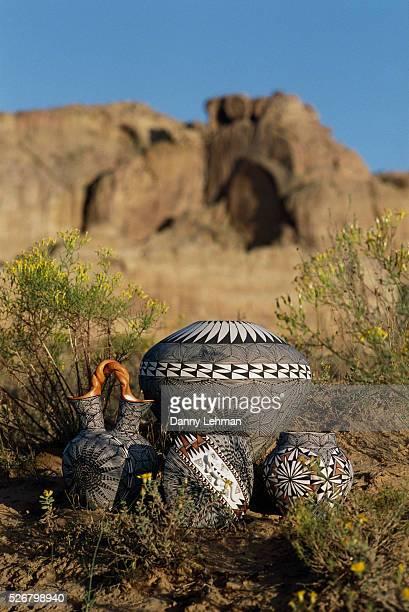 Acoma Pottery Among Desert Brush