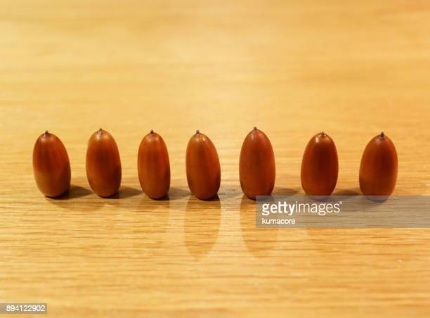 Acorn lined up