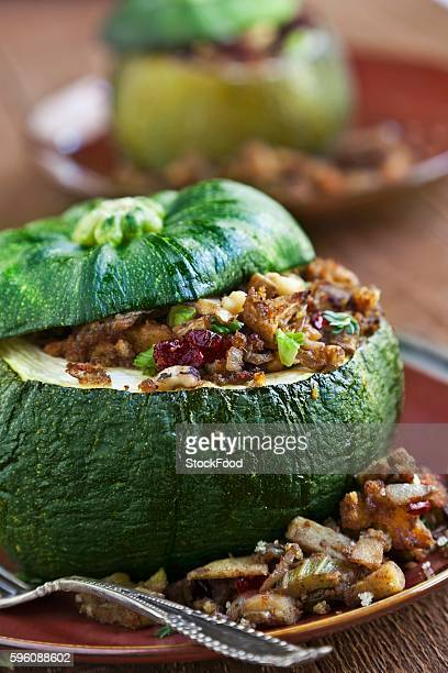 Acorn Squash Stuffed with Dried Cranberry, Apple Cinnamon and Corn Muffin Stuffing