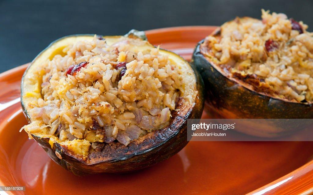 Acorn Squash Stuffed with Rice : Stock Photo