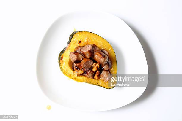 Acorn squash stuffed with sausage