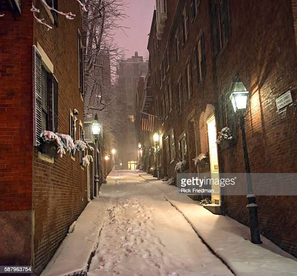 Acorn St on Beacon Hill buried in the snow from Blizzard Nemo in Boston MA on February 9 2013 Acorn St is a private cobble stone street on historic...