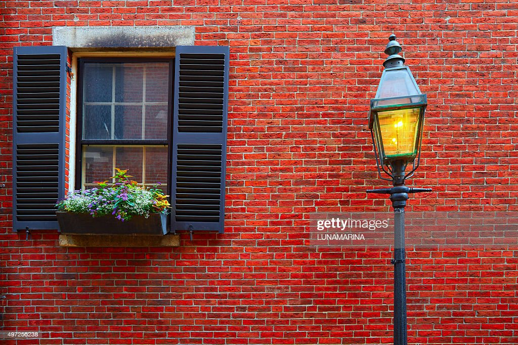 Acorn street Beacon Hill cobblestone Boston : Stock Photo
