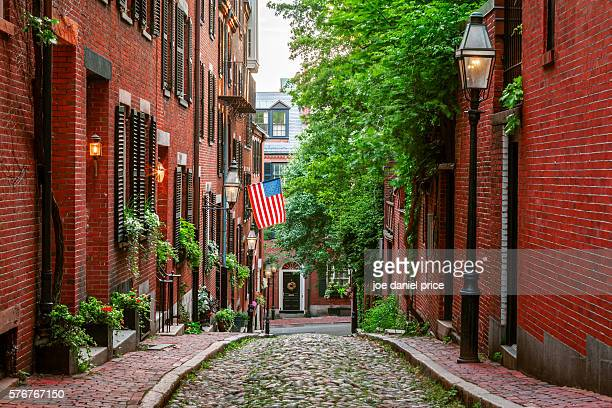 acorn street, boston, massachusetts, america - boston stock pictures, royalty-free photos & images
