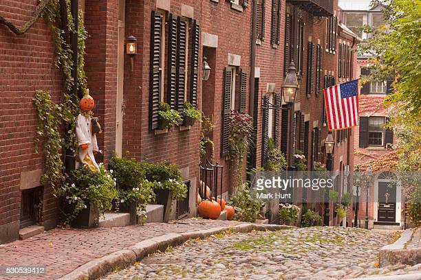 Acorn Street during Halloween