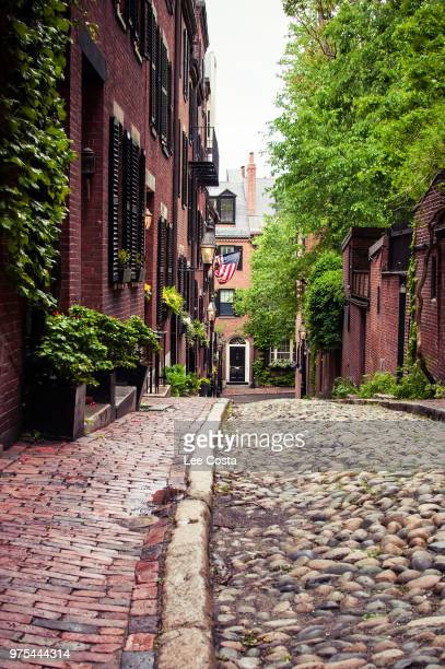 acorn street in summer, boston, massachusetts, usa - acorn street boston stock pictures, royalty-free photos & images