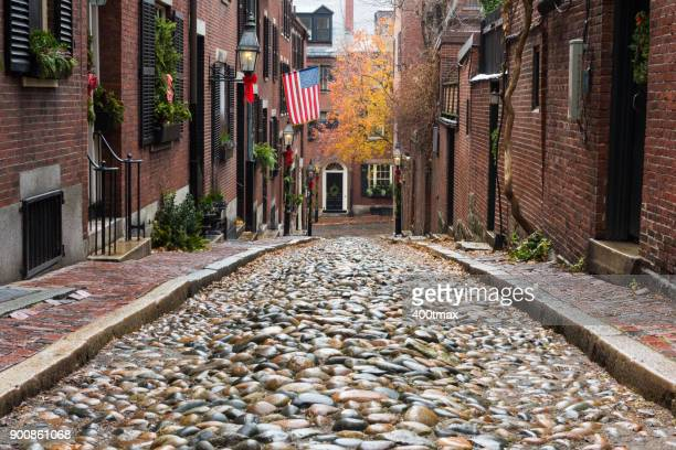 acorn street - cobblestone stock pictures, royalty-free photos & images
