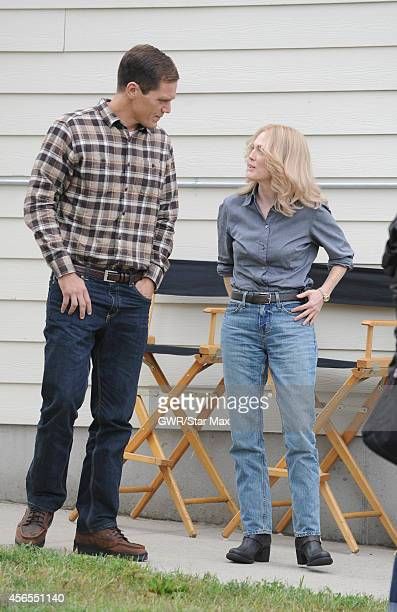 Acors Michael Shannon and Julianne Moore are seen on the set of 'Freeheld' on October 2 2014 in New York City