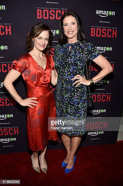 """Acors Sarah Clarke and Mimi Rogers attend the Premiere Of Amazon's """"Bosch"""" Season 2 at SilverScreen Theater at the Pacific Design Center on March 3,..."""