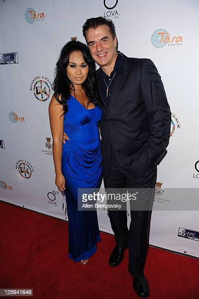 Acotr Chris Noth and cofounder of LOVA Tea Tara Wilson attend the 3rd annual Bullets 4 Peace reloading life event celebrating the World Peace Day at...