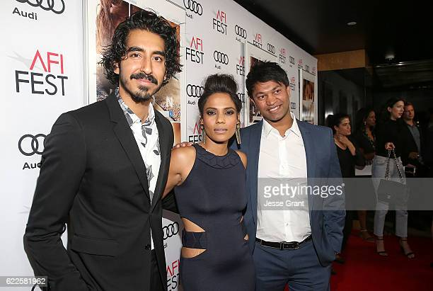 Acotr Dev Patel actress Priyanka Bose and author Saroo Brierley attend the premiere of The Weinstein Company's 'Lion' at AFI Fest 2016 on November 11...