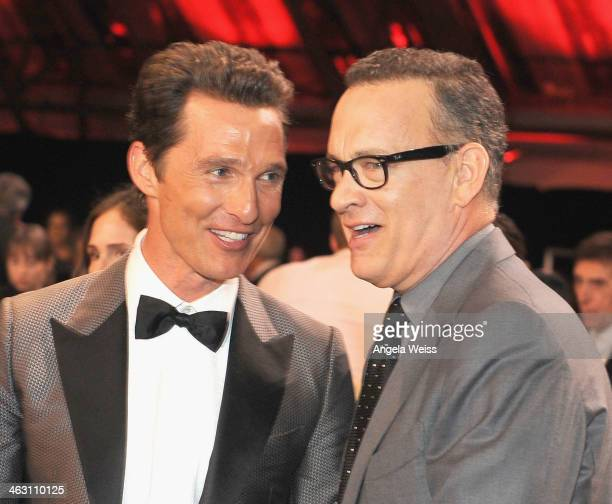 Acotrs VMatthew McConaughey and Tom Hanks with Napa Valley Vintners And Sapporo attend the 19th Annual Critics' Choice Movie Awards at Barker Hangar...