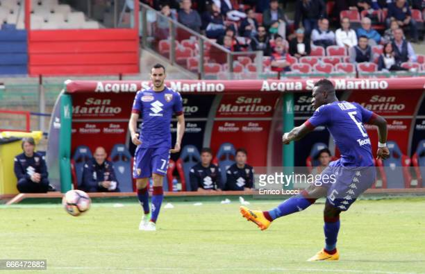 Acquah Afriyie of Torino scores his goal 13 during the Serie A match between Cagliari Calcio and FC Torino at Stadio Sant'Elia on April 9 2017 in...