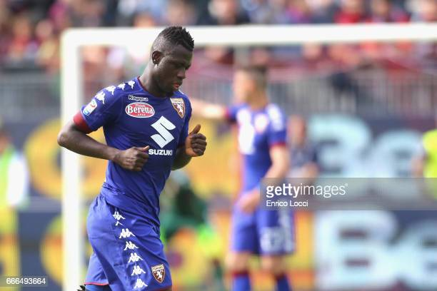 Acquah Afriyie of Torino sent off during the Serie A match between Cagliari Calcio and FC Torino at Stadio Sant'Elia on April 9 2017 in Cagliari Italy
