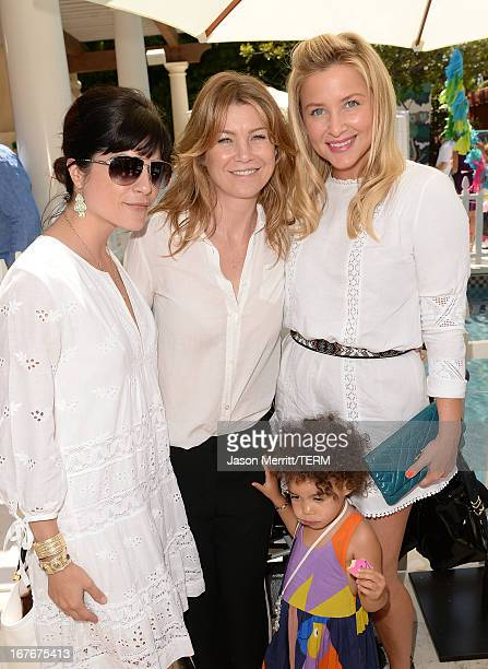 Acresses Selma Blair Ellen Pompeo daughter Stella Ivery and Jessica Capshaw attend the Huggies Snug Dry and Baby2Baby Mother's Day Garden Party held...