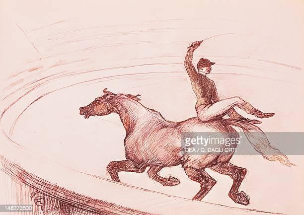 Acrobat on horseback by Henri de Toulouse Lautrec drawing with colored pencils Albi Musée ToulouseLautrec