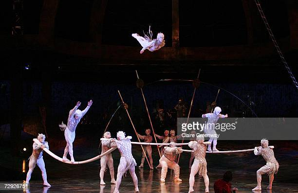 Acrobatic artists perform on stage during the dress rehearsal for Cirque Du Soleil's 'Alegria' at Royal Albert Hall on January 4 2007 in London...