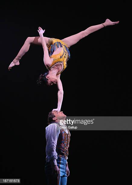 Acrobatic dancers perform during the Corteo production at the Cirque Du Soleil circus dress rehearsal on November 28 2012 in Berlin Germany Cirque Du...