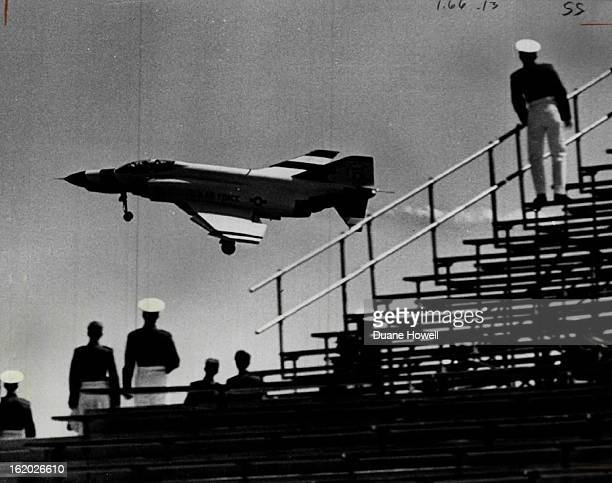 JUN 7 1972 JUN 8 1972 Acrobatic Pilot Draws Attention At AFA Graduation Cadets watch while one of the Thunderbirds an Air Force precision aerial...
