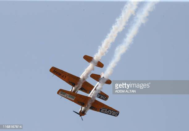 Acrobatic planes perform during the Sivrihisar Airshow in Sivrihisar district of Eskisehir on September 14 2019