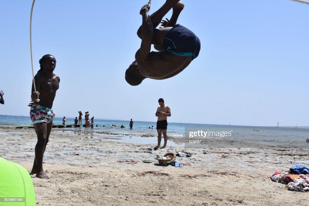 Acrobatic show, Spain Ibiza : Stock Photo