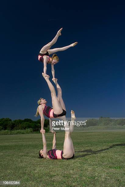 Acrobatic troop performing moves