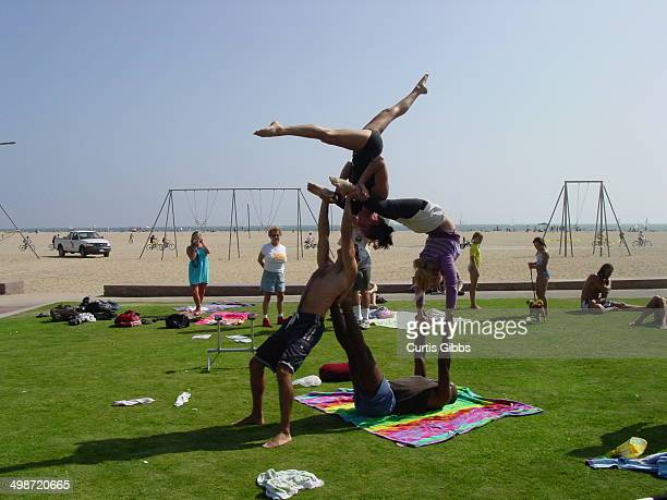 Acrobatics at Muscle Beach near Venice, California.