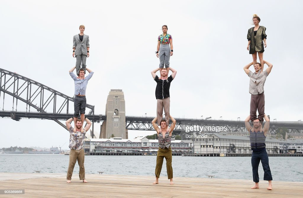 Acrobats Perform On Sydney Harbour As Part of Sydney Festival