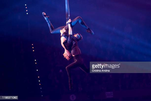 Acrobats David and Max performs in Revolution on Ice at Coliseum A Coruña on December 21 2019 in A Coruna Spain