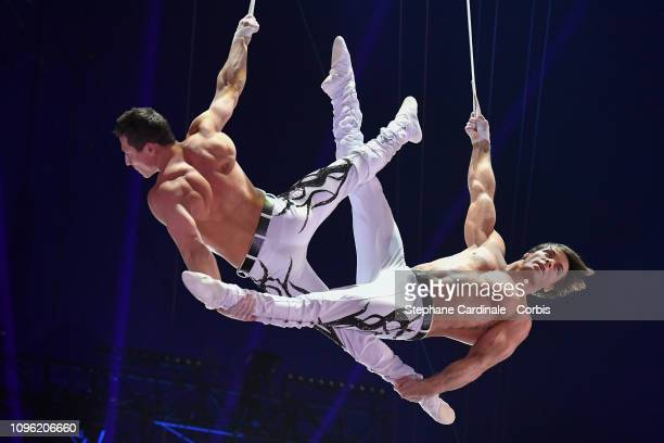 Acrobats Just 2 Men perform during the 43rd International Circus Festival of MonteCarlo on January 18 2019 in Monaco Monaco