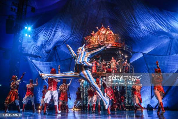 Acrobats of 'Kooza' by Cirque Du Soleil dress rehearsal on January 15, 2020 in Seville, Spain.