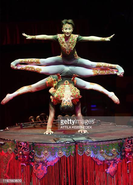 Acrobats of the Black and White Fantasy of China perform during the 13th International Circus Festival in the Capital Circus of Budapest Hungary on...