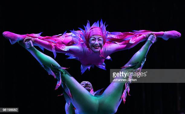 Acrobats of the Canadian circus company Cirque du Soleil perform at Olympia Stadion during a rehearsal of the new show 'Varekai' on March 31 2010 in...