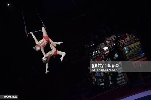 Acrobats of the Dou Anastasya of Russia perform during the 13th International Circus Festival in the Capital Circus of Budapest Hungary on January 8...