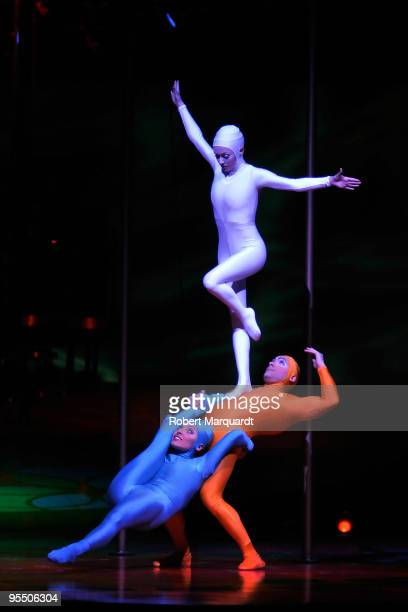 Acrobats perform at the Cirque du Soleil European premiere of 'Saltimbanco' at the Palau Sant Jordi on December 30 2009 in Barcelona Spain