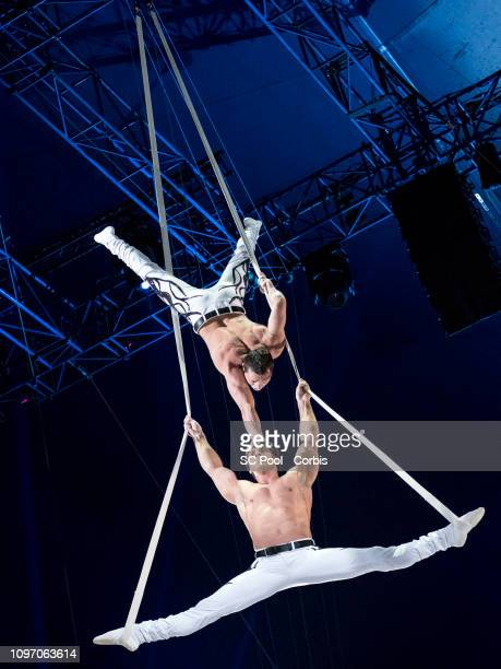 Acrobats perform during the 43rd International Circus Festival of MonteCarlo on January 20 2019 in Monaco Monaco