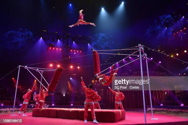 Acrobats perform during the Gala Ceremony of the 43rd International Circus Festival of MonteCarlo on January 22 2019 in Monaco Monaco