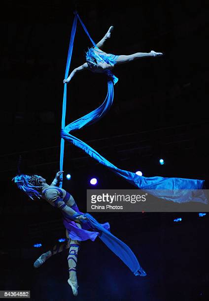 Acrobats perform the acrobatic drama 'Magic Nine Songs' on January 19 2009 in Wuhan of Hubei Province China The drama adapted from the poem Jiu Ge...