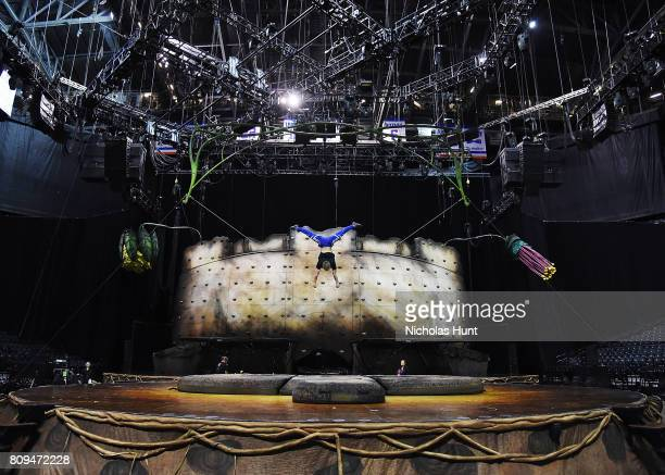 Acrobats rehearse Cirque Du Soleil's OVO show at Barclays Center of Brooklyn on July 5 2017 in New York City