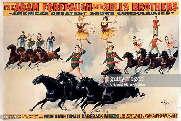 Acrobats Riding Horses Forepaugh Sells Bros Circus Poster circa 1899