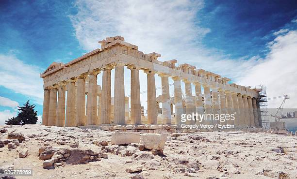 acropolis against cloudy sky - old ruin stock pictures, royalty-free photos & images